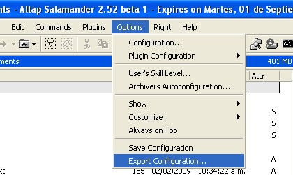 Export Configuration in Altap Salamander